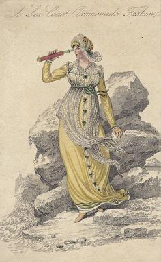 Seaside promenade dress, 1809 England, La Belle Assemblée