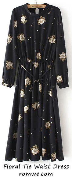 Black Crew Neck Floral Tie Waist Dress