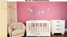 Babyletto Mercer 3-in-1 Convertible Crib with Toddler Rail White Guide &...