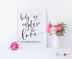Congratulations on your upcoming wedding! Personalized Help Us Capture The Love Wedding Hashtag Sign Printable Instagram Wedding Sign, Wedding Hashtag Sign, Wedding Reception Signs, Instagram Sign, Wedding Signage, Wedding Ideas, Marsala And Gold Wedding, Wedding Bathroom Signs, Floral Wedding