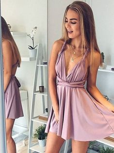 90433897da9 A-Line Deep V-Neck Short Blush Elastic Satin Convertible Style Homecoming  Dress with