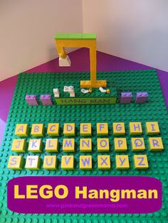 DIY Lego Hangman - Kids Home Made Arts and Crafts by Pink and Geen Mama., Lego Hangman - Kids Home Made Arts and Crafts by Pink and Geen Mama. I love this idea! So wonderful for my word learning 6 year old. Spelling Games, Spelling Activities, Activities For Kids, Spelling Ideas, Spelling Practice, Minifigures Lego, Lego Duplo, Legos, Lego Challenge