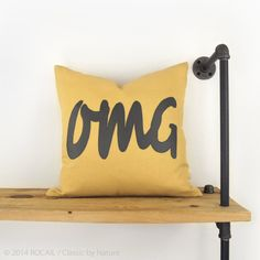 18x18 Outdoor Pillow Mustard Yellow & Charcoal by ClassicByNature