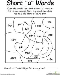 Short 'A' Sounds Color Puzzle Worksheet
