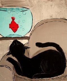 """Saatchi Online Artist: ATELIER DE JIEL; Oil, 2013, Painting """"BLACK CAT WITH GOLDFISH HIS FRIEND"""""""