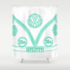 VW Splitty Teal Shower Curtain - $68.00 #shower #bath #homedecor #VW #Volkswagen #CamperVan #VWBus #teal #Vintage #Retro