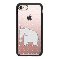 Girl Elephant with Pink Bow - White Pink Polka Dots - iPhone 7 Case... ($39) ❤ liked on Polyvore featuring accessories, tech accessories, iphone case, clear iphone case, elephant print iphone case, iphone cases, elephant iphone case and apple iphone case