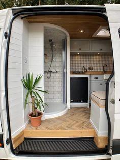 Van Conversion Shower, Van Conversion Interior, Camper Van Conversion Diy, Van Conversion With Bathroom, Sprinter Van Conversion, Bus Living, Tiny House Living, Caravan Living, Caravan Home