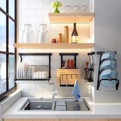 Eastore Life Wall-Mounted Dish Rack - - If your apartment's kitchen is small and cramped, we'll give you a tip: wall storage. These organizers are the trick to making a small space feel large. Kitchen Wall Storage, Dish Storage, Wall Mounted Kitchen Shelves, Apartment Kitchen, Kitchen Interior, Kitchen Decor, Kitchen Rack Design, Wall Mounted Dish Rack, Plate Rack Wall