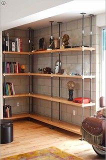 Industrial Built-in Metal and Reclaimed Wood Bookcases - living room - los angeles - by Mortise & Tenon Custom Furniture Store
