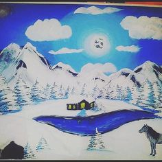 #art #pain #painting #tree #forest #les #tempera #colors #color #country #krajina #krajinka #krasa #nice #blue #modra #white #fantázia #fantasy #obrazok #obloha  #horse