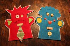 Marionnettes Madame Sourire et Monsieur Grognon, pour main d'adulte