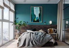 Modern bedroom, beautiful interior paint color