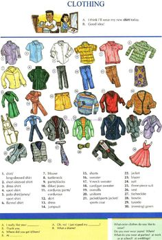 53 - CLOTHING - Picture Dictionary - English Study, explanations, free exercises, speaking, listening, grammar lessons, reading, writing, vocabulary, dictionary and teaching materials
