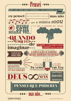 Infográfico criativo da música Pensei do @Palavrantiga