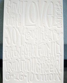 Matt + Lauren's hand-lettered, blind printed save the dates by Gus & Ruby Letterpress