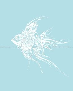 Abstract Fish  8 X 10 Print  JP 0022 by JellyPrints on Etsy, $18.00