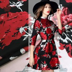 American style luxury blue/red/yellow floral jacquard brocade fabric for autumn/spring dress/coat FREE SHIPPING SP2640