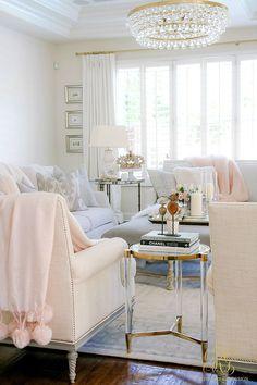 Romantic Valentine's Day Home Tour + Styling Tips - Randi Garrett Design white family room