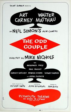 John Fiedler, Paul Dooley, Mike Nichols, Theatre Posters, Odd Couples, New Comedies, Window Cards, Broadway Theatre, Golden Age