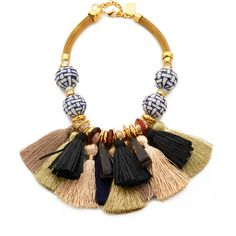 Lizzie Fortunato Polynesia Tassel Necklace (€210) ❤ liked on Polyvore featuring jewelry, necklaces, collares, gold, collar necklace, mesh necklace, tassel necklace, adjustable chain necklace and tassel charms