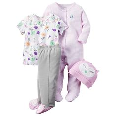 4-piece set. Nickel-free snaps on reinforced panel. Allover prints. Expandable shoulders. Foldover cuffs on sizes P, NB & 3M. Built-in footies. Applique & embroidery.