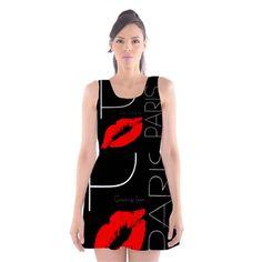 Funny Black White Red Scoop Neck Skater Dress