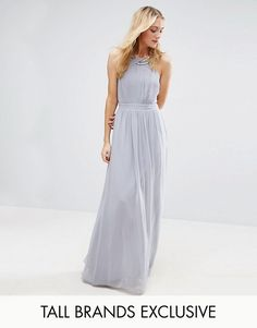 Little Mistress Tall Pleated Maxi Dress With Embellished Neck In Grey At Asos
