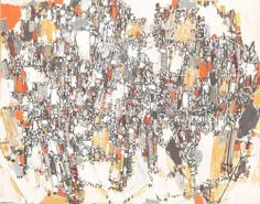 Adjugé 11 200 euros par Mercier à Lille le 21 juin 2014 - Natalia DUMITRESCO (1915-1997) Composition n°23, 1958 Huile sur toile signée en basà gauche. Au dos contresignée. 73 x 92 cm Exposition : Saidenberg Gallery, NY (étiquette au dos).