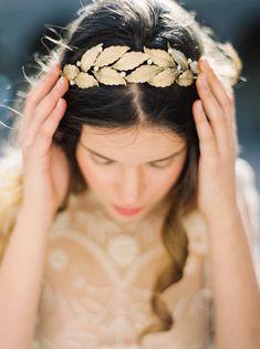 Gold Laurel Leaf and Rhinestone Crown Style by MelindaRoseDesign
