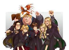 How to Train Your Dragon kids as Hogwarts students.   Fan art by Flayu.deviantart.com