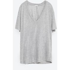 Zara Basic T-Shirt ($20) ❤ liked on Polyvore featuring tops, t-shirts, pearl marl, short sleeve tee, basic tee shirts, basic tshirt, short sleeve tops and short sleeve t shirt