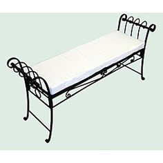 Black Scroll Pattern Garden Bench Furniture Foam Iron Patio