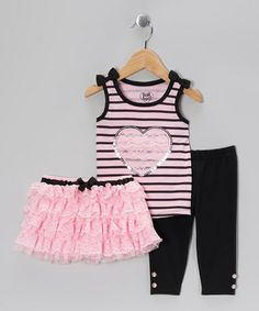 Take a look at this Light Pink Lace Tiered Tutu Set - Infant, Toddler & Girls by Young Hearts on #zulily today!