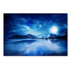 """Trademark Art """"Lofoten Blues"""" by Philippe Sainte-Laudy Photographic Print on Wrapped Canvas Size: 16"""" H x 24"""" W x 2"""" D"""