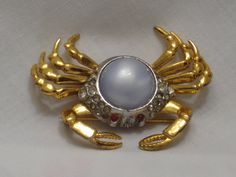 Vintage Crab Pin with Rhinestones and by mimmiestreasurechest, $9.50