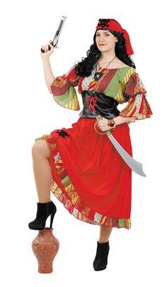 DisfracesMimo, disfraz de pirata colorida mujer talla l. Te hará embarcar en las aventuras más divertidas del Carnaval. Llévate a tu tripulación a las fiestas de tematicas. Este disfraz es ideal para tus fiestas temáticas de piratas y corsarios para adulto. fabricacion nacional