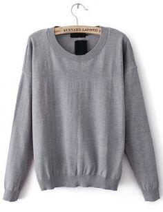 Grey Long Sleeve Heart Elbow Patch Sweater