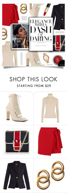 """""""elegance"""" by ztugceuslu ❤ liked on Polyvore featuring Sergio Rossi, Alice + Olivia, Tommy Hilfiger, Boohoo, Balmain, Laura Lombardi, Concrete Minerals, Michael Kors, red and turtlenecksweater"""