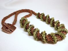 Moss and Copper Cellini Spiral Beadwoven Necklace.