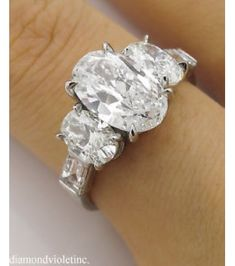 GIA 3.45ct Estate Vintage Oval Cut Diamond Three Stone Engagement Wedding Platinum Ring