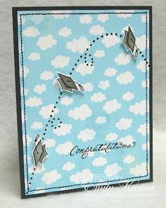 like this grad card.....a black gel pen was used to show the path of the mortarboard...card by emily keaton