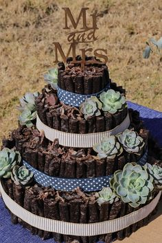 This wedding biltong cake has accents of blue and brown made with 3 tiers for guest to enjoy. The biltong and droewors cake is decorated with dessert roses ideal to compliment the theme of the wedding and to add a unique touch to the desert/snack table. MK Biltong Imagineer can custom design and make a biltong cake for you in any colour and size for your special occasion. Wedding Snacks, Wedding Cakes, Country Style Wedding, Rustic Wedding, Wedding Tips, Our Wedding, Sunflower Wedding Favors, Biltong, Big Cakes