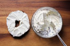 "Better Than a Silver Packet: DIY Cream Cheese by woderlandkitchen: A lovely spread that contains no Xanthan Gum, and/or Carob Bean Gum, and/or Guar Gum, no preservatives, and no ""natural flavor"".  Seven days later, it still tastes fantastic. #Cream_Cheese #DIY"