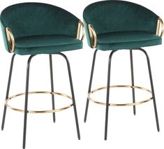 Chic modern style shines bright with the unique design of the Cherlyn counter height stool. With a rounded low backrest, sleek gold armrests and a black metal frame, it's the perfect piece for your contemporary dining area. The Cherlyn counter stool is upholstered in lush emerald green velvet. Customer assembly is required. Gold Bar Stools, Bar Stools For Sale, Leather Bar Stools, Green Apartment, Chicago Apartment, Apartment Ideas, Living Room Decor Inspiration, Interior Inspiration, Value City Furniture