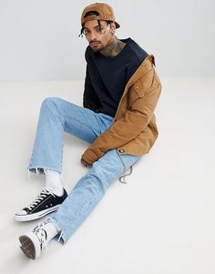 Shop the latest Reclaimed Vintage inspired oversized sweatshirt in washed black trends with ASOS! Fashion Guys, Hipster Fashion, Mens Fashion, Vintage Fashion Men, Fashion Rings, Fashion Outfits, Fashion Fall, Dress Outfits, Fashion Shoes