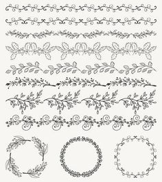 Illustration of Collection of Black Artistic Seamless Hand Sketched Decorative Doodle Vintage Borders and Frames. Pattern Brashes vector art, clipart and stock vectors. Doodle Art Letters, Doodle Art Journals, Journal Art, Bullet Journal Books, Bullet Journal Ideas Pages, Vine Drawing, A Level Art Sketchbook, Doodle Borders, Vintage Borders