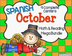 ******Spanish Version  This is a large Math and Reading Pack with 9 learning centers. Every center comes with student response pages.   Included are:  I Spy A Ten-Frame-October (0-20) 4 large cards & 8 Student response pages   October Number Match (0-20) 21 puzzles using very cute colorful October Clip Art by the best artists :) 21 puzzles 2 Response Sheets, Answer Key, & in B&W   Roll, Say, Color (18 more words from the Real Academia Española)-es, al, lo, como, más, o, pero, sus, ...