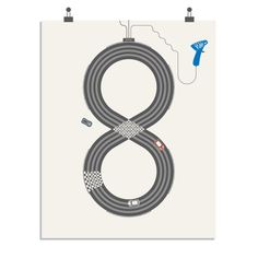 Scalextric art print by Sean Mort 16 x 20 inches, 3 colour screen print on Cyclus Offset, a 100% recycled 250gsm paper.