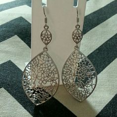 Silver filagree earrings Silver fishhook earrings made of medium weight quality metal. Absolutely stunning, long. New. Jewelry Earrings